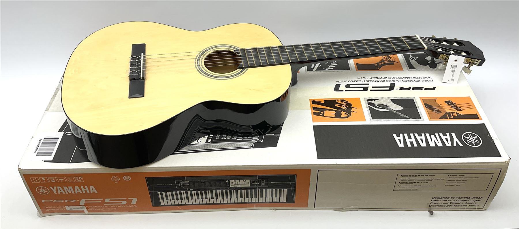 Yamaha PSR-F51 digital keyboard in original box and Elevation acoustic guitar