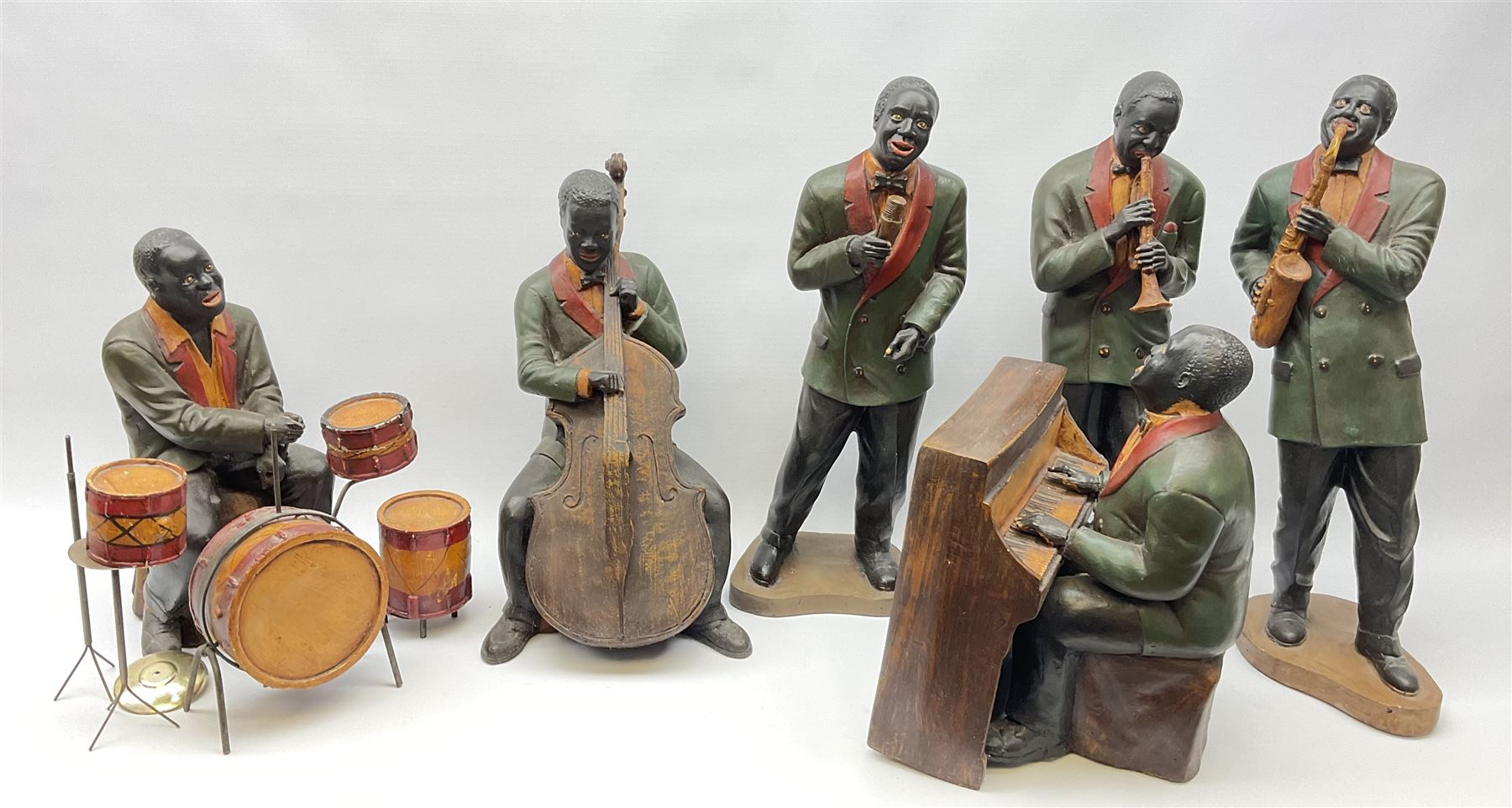 A group of six large composite Jazz Band figures