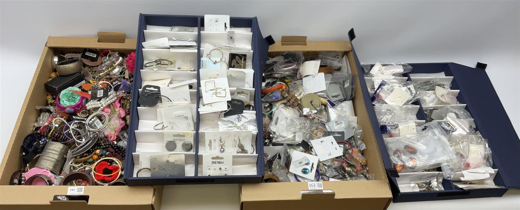 Quantity of costume jewellery including bracelets
