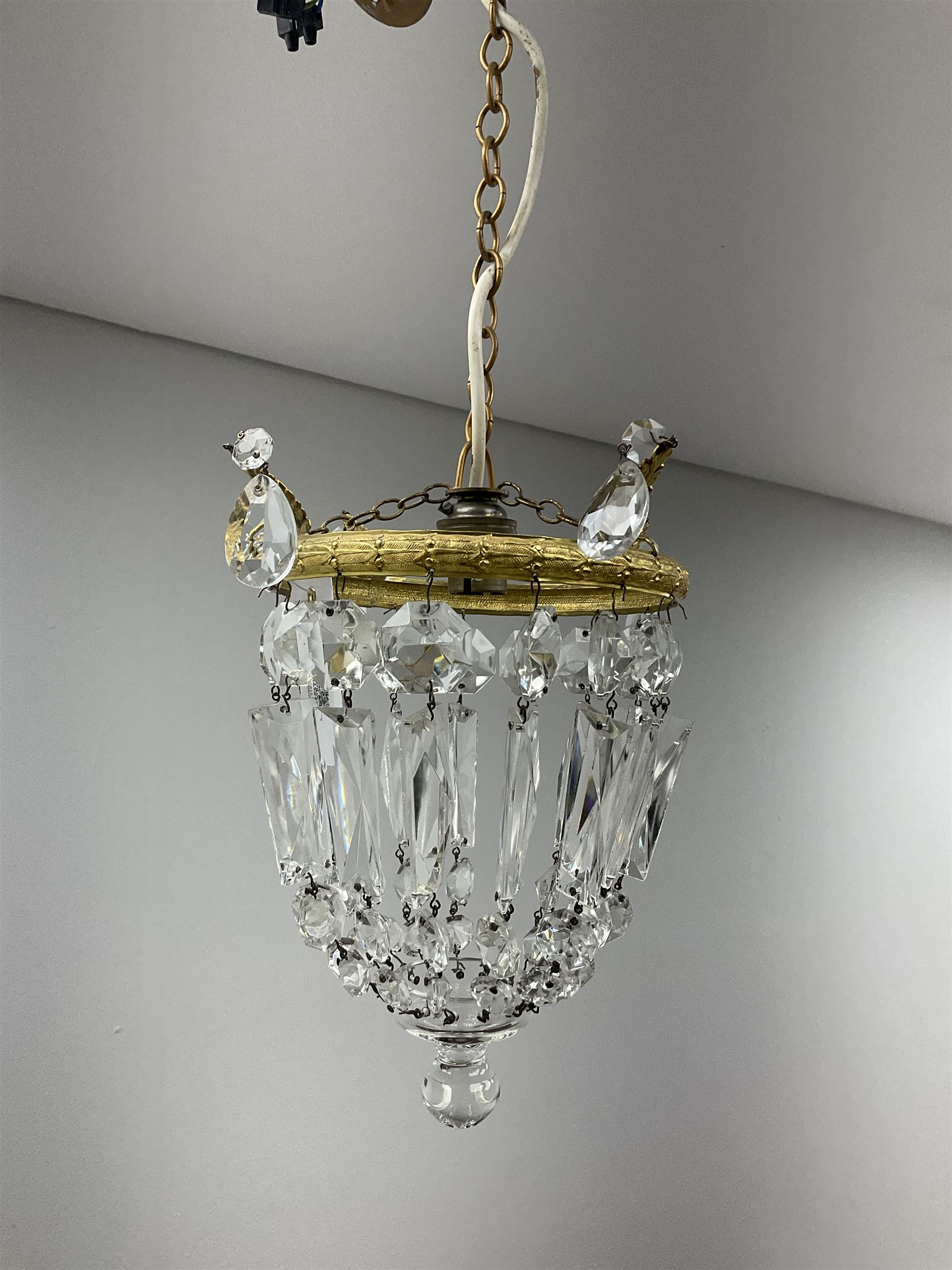 A pair of cut glass bag chandeliers with gilt metal mounts of clear glass drops - Image 2 of 3