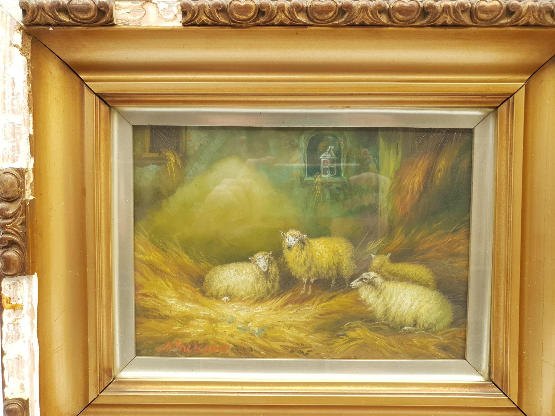 Arthur Jackson (British fl.1885-1910): Sheep in a Barn - Image 3 of 7