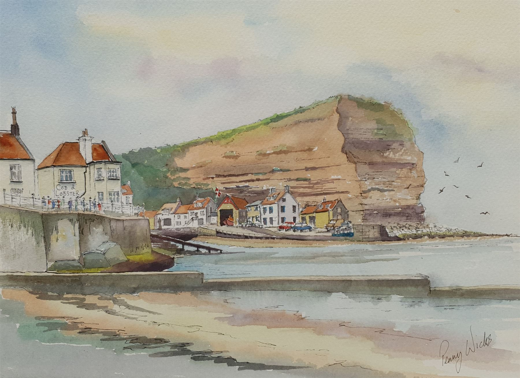 Penny Wicks (British 1949-): Cod and Lobster 'Staithes'