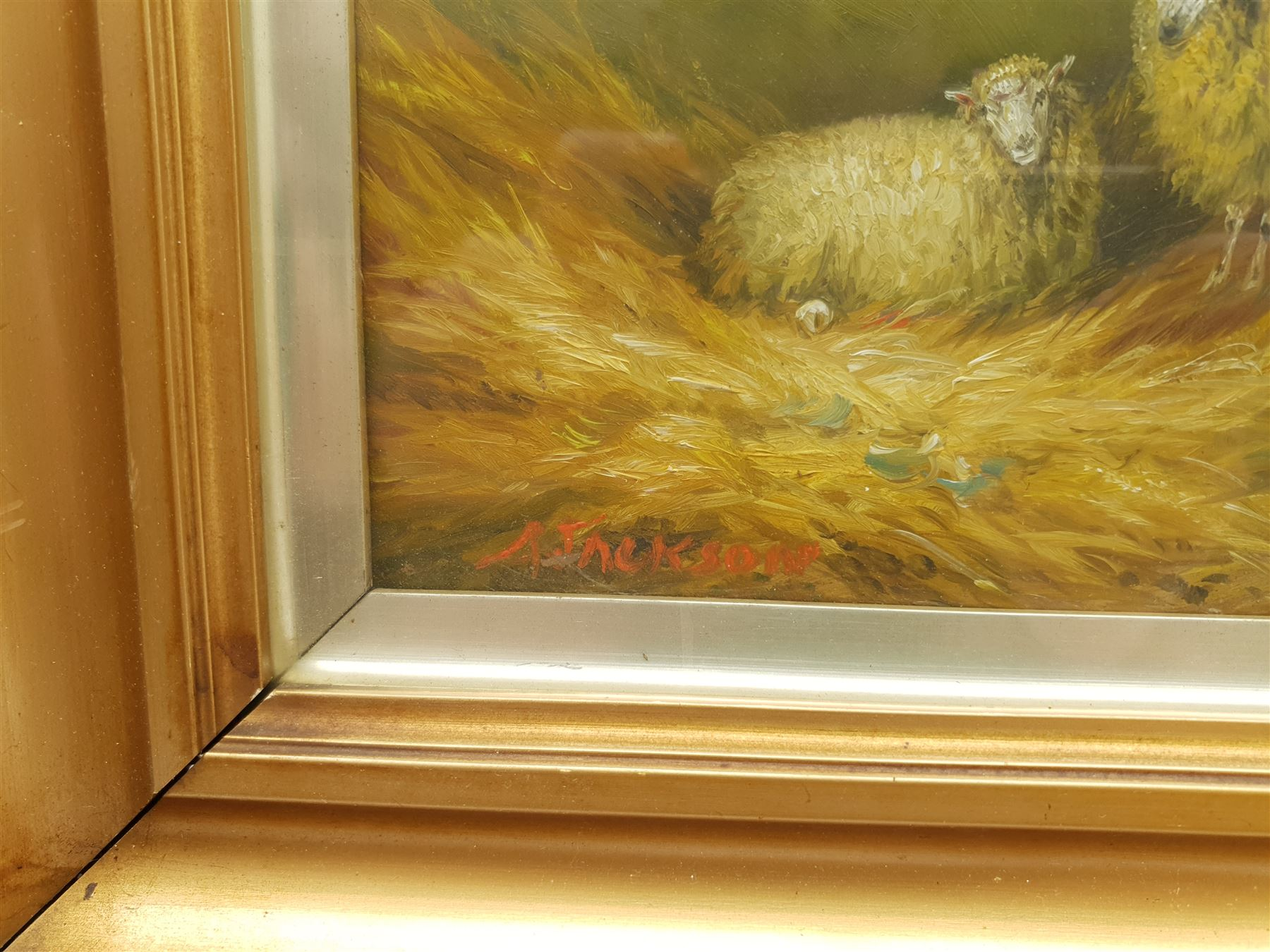 Arthur Jackson (British fl.1885-1910): Sheep in a Barn - Image 4 of 7