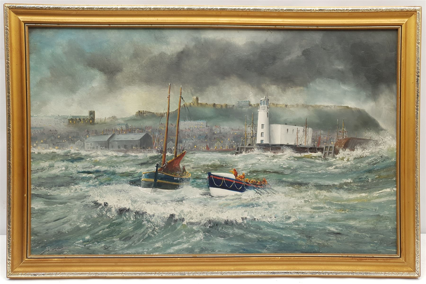 Robert Sheader (British 20th century): Lifeboat to the Rescue of a Whitby Fishing Boat - Image 2 of 2