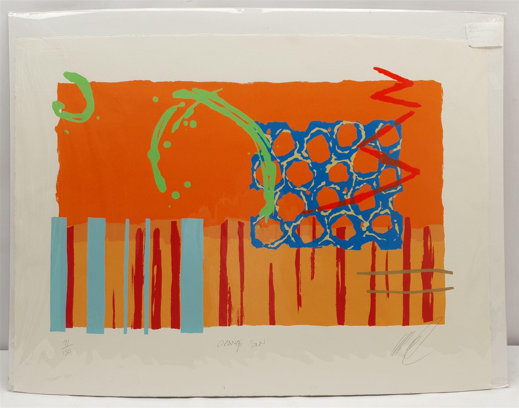 Lee Crew (British 1970-): 'Orange Sun' - Image 2 of 3