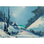 David Deakins (British 1944-): Snow Covered Valley