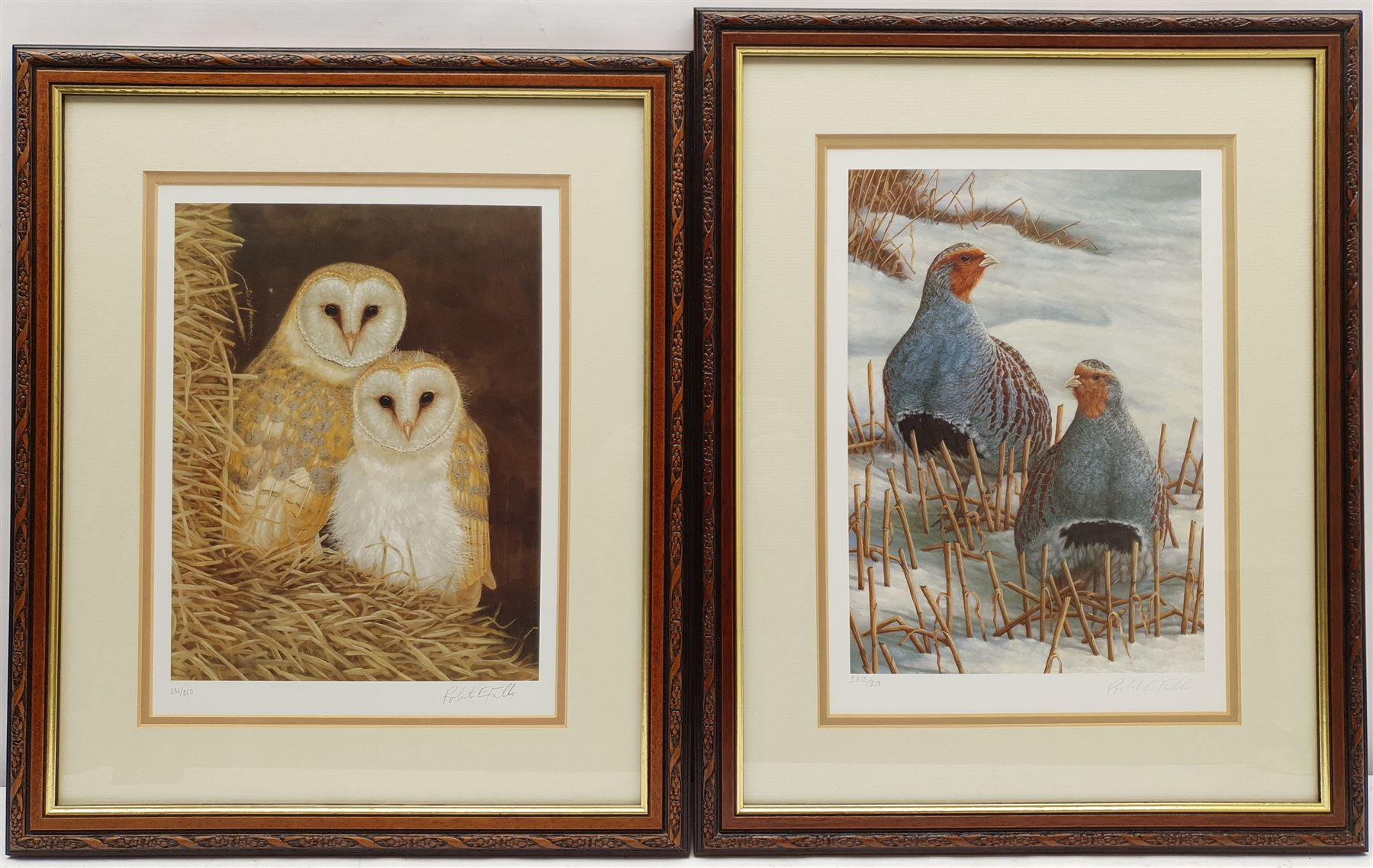 Robert E Fuller (British 1972-): 'Owls Snuggled Up' and 'Greys on Winter Stubble' - Image 2 of 2