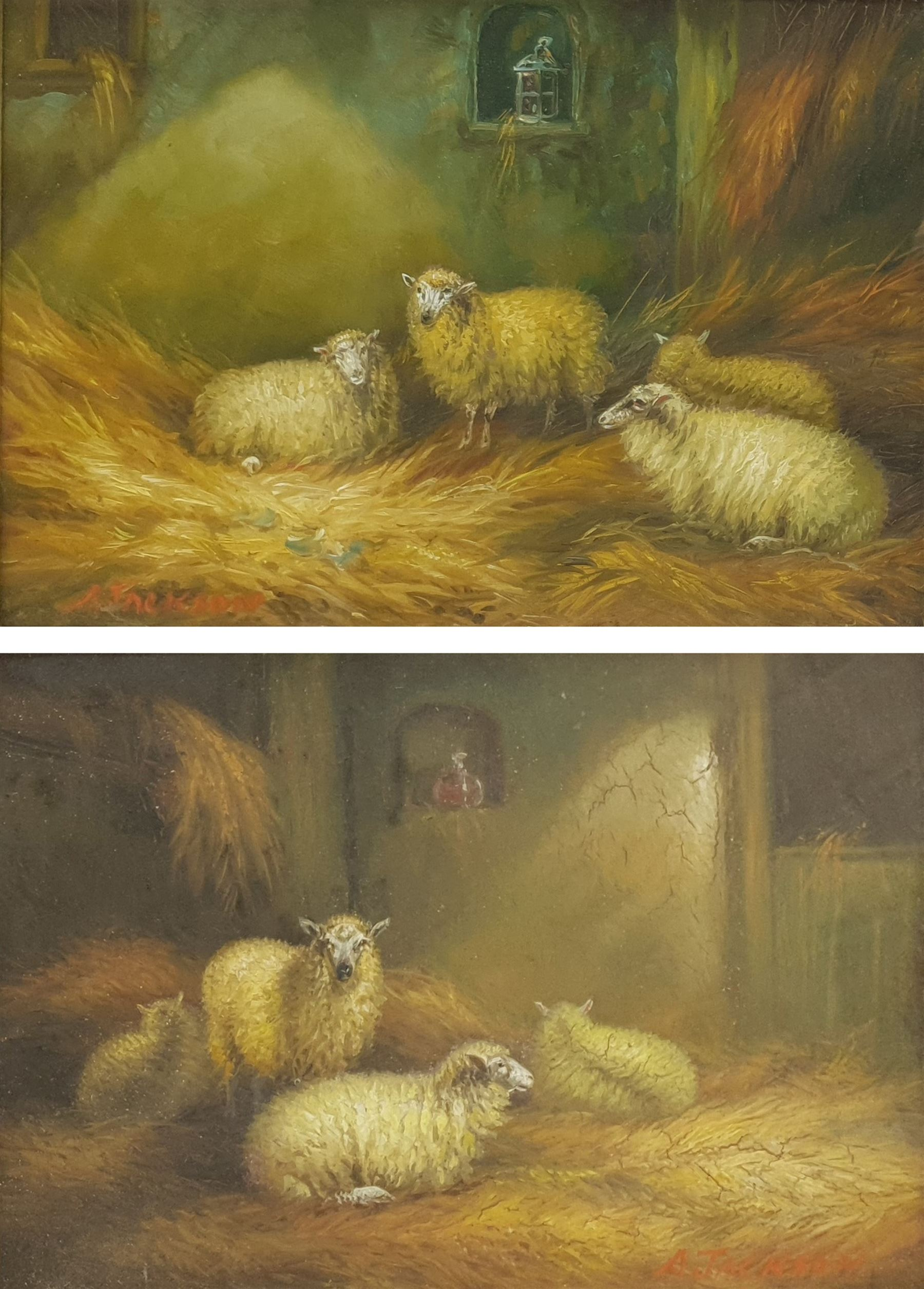 Arthur Jackson (British fl.1885-1910): Sheep in a Barn