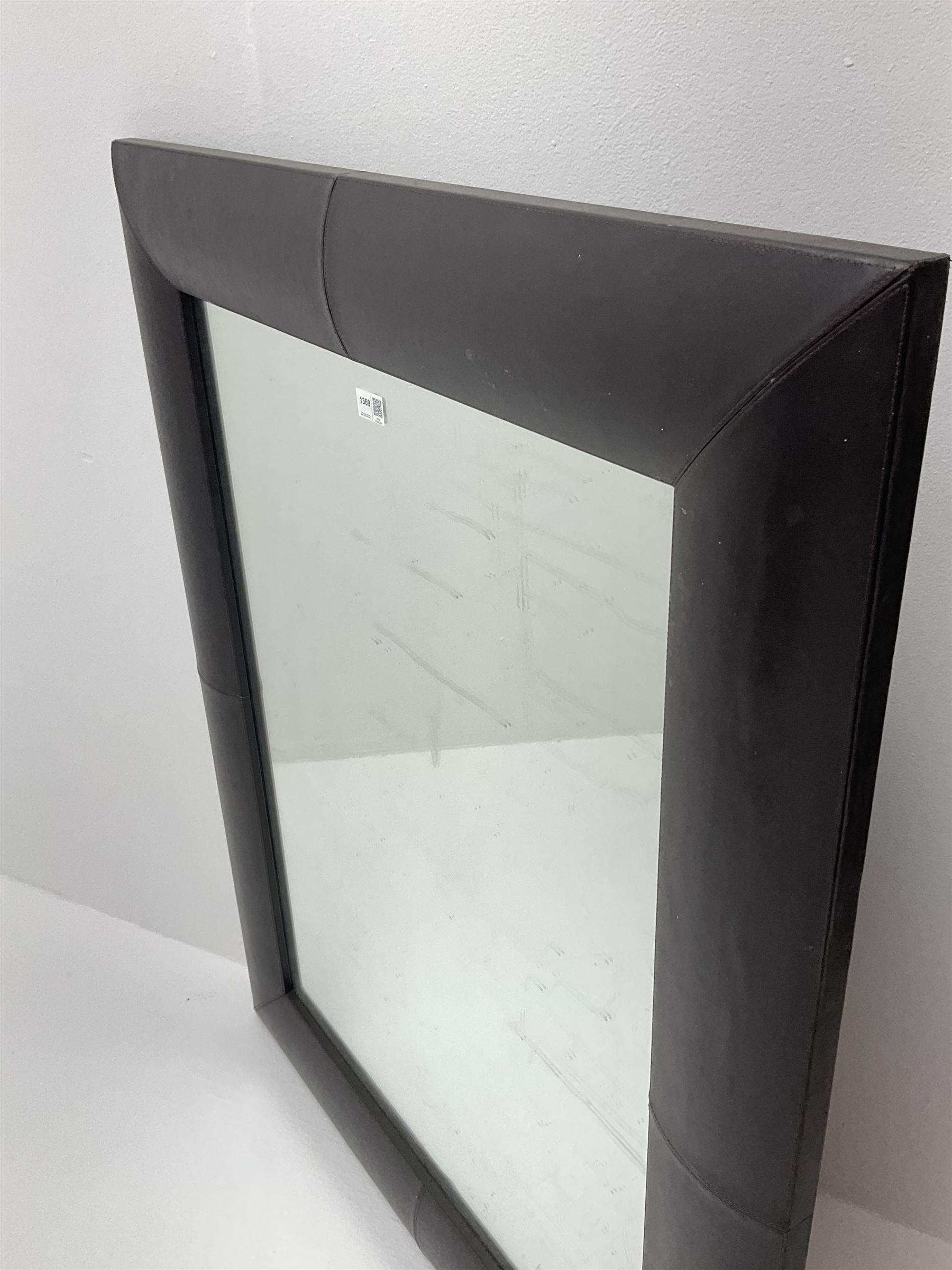 Rectangular leather framed mirror - Image 2 of 2