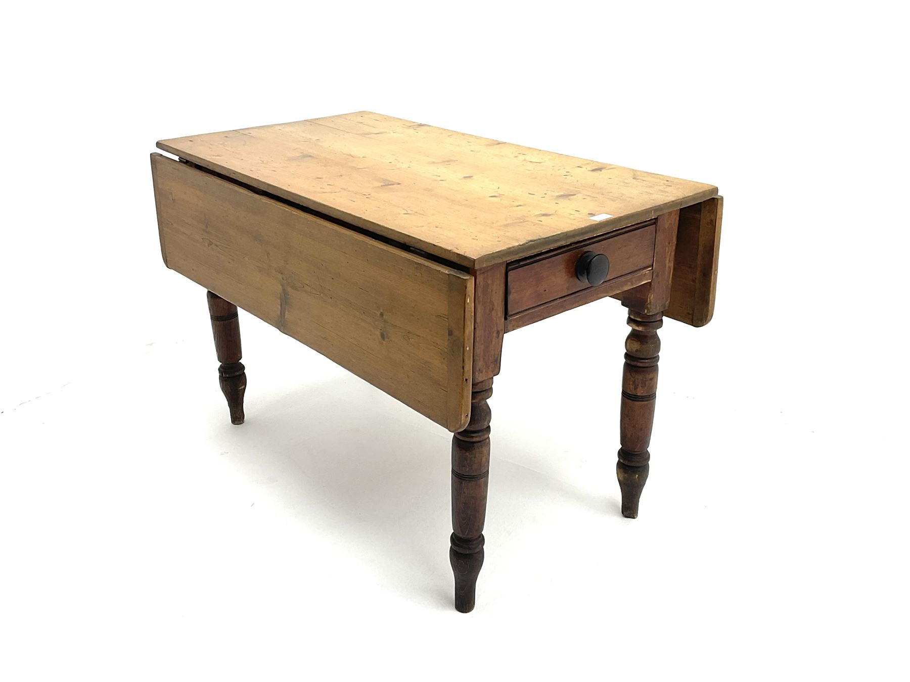 Victorian stained and polished pine drop leaf kitchen table