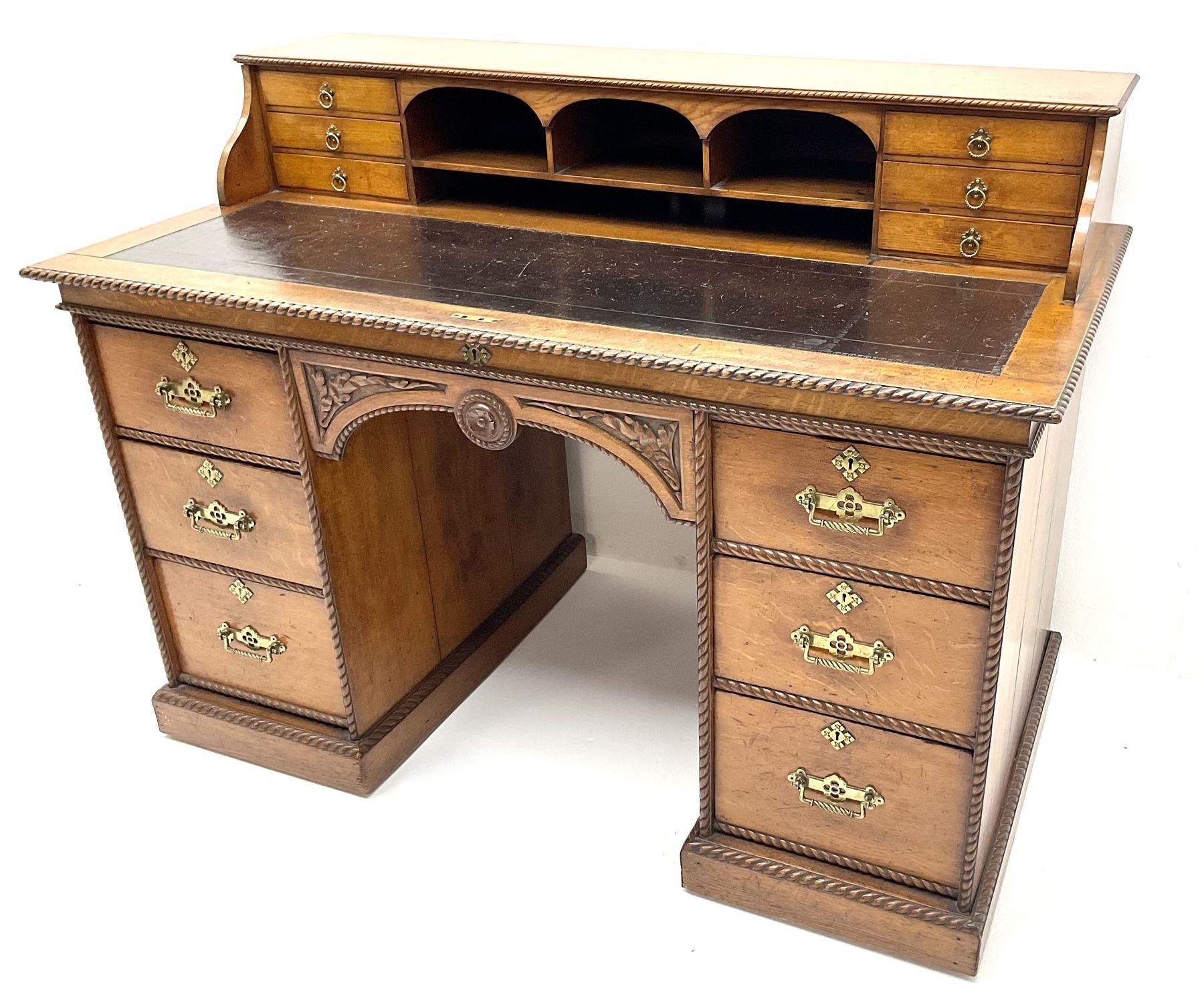 Victorian aesthetic oak movement desk - Image 7 of 7