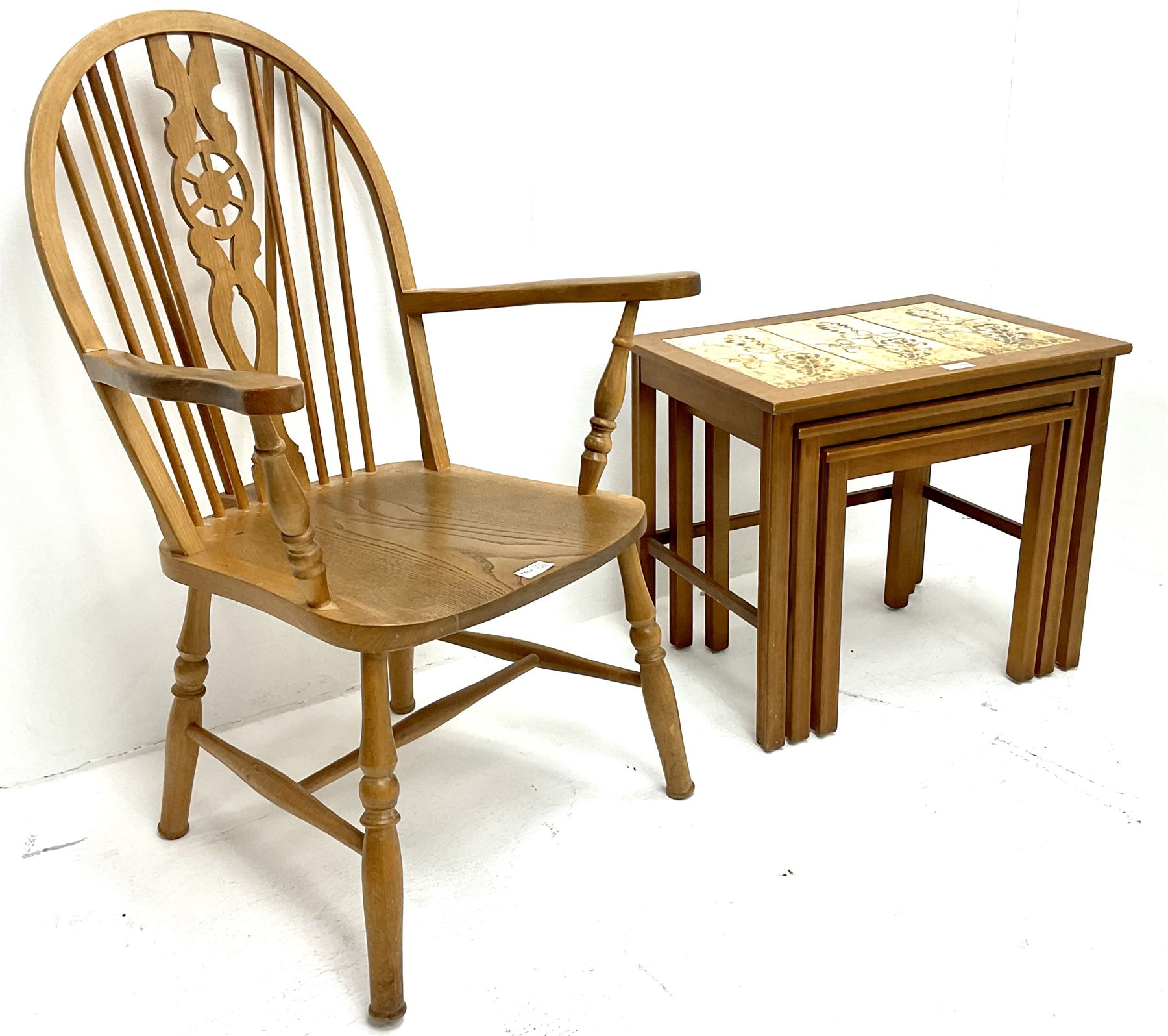 Beech and elm Wheel back carver chair (W60cm) and nest of tiled tables (2)