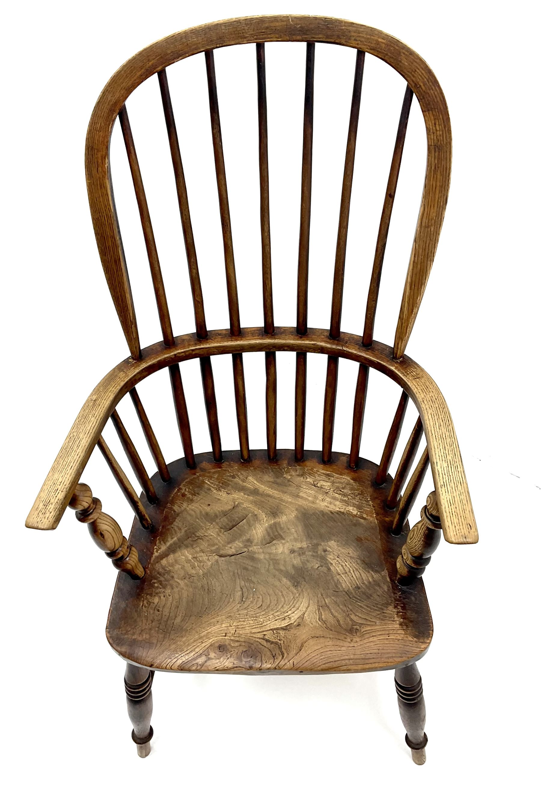 19th century ash and elm high back Windsor chair - Image 3 of 3