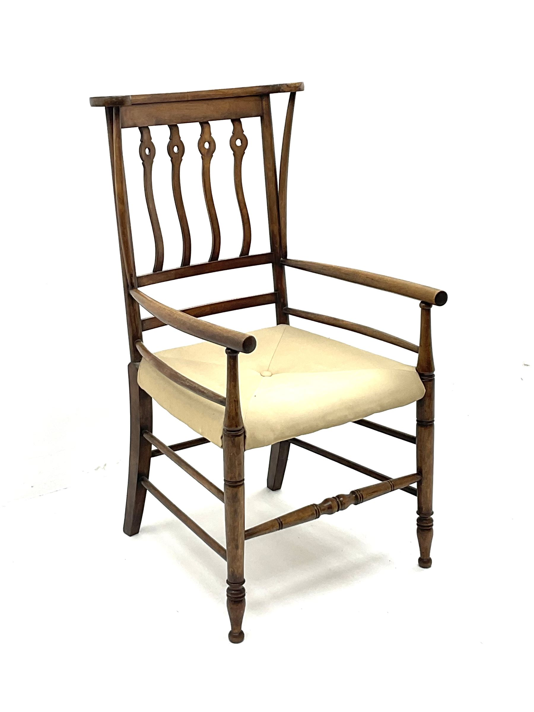 Early 20th century Arts and Crafts style fruitwood elbow chair - Image 2 of 3
