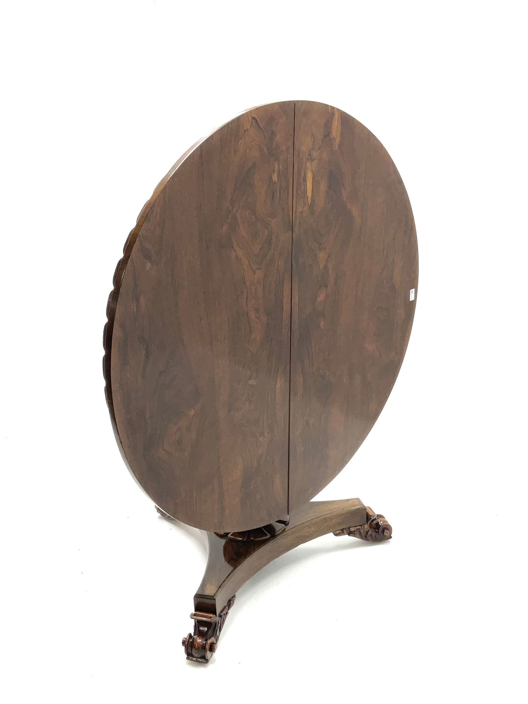 Early Victorian rosewood circular tilting dining table - Image 2 of 5