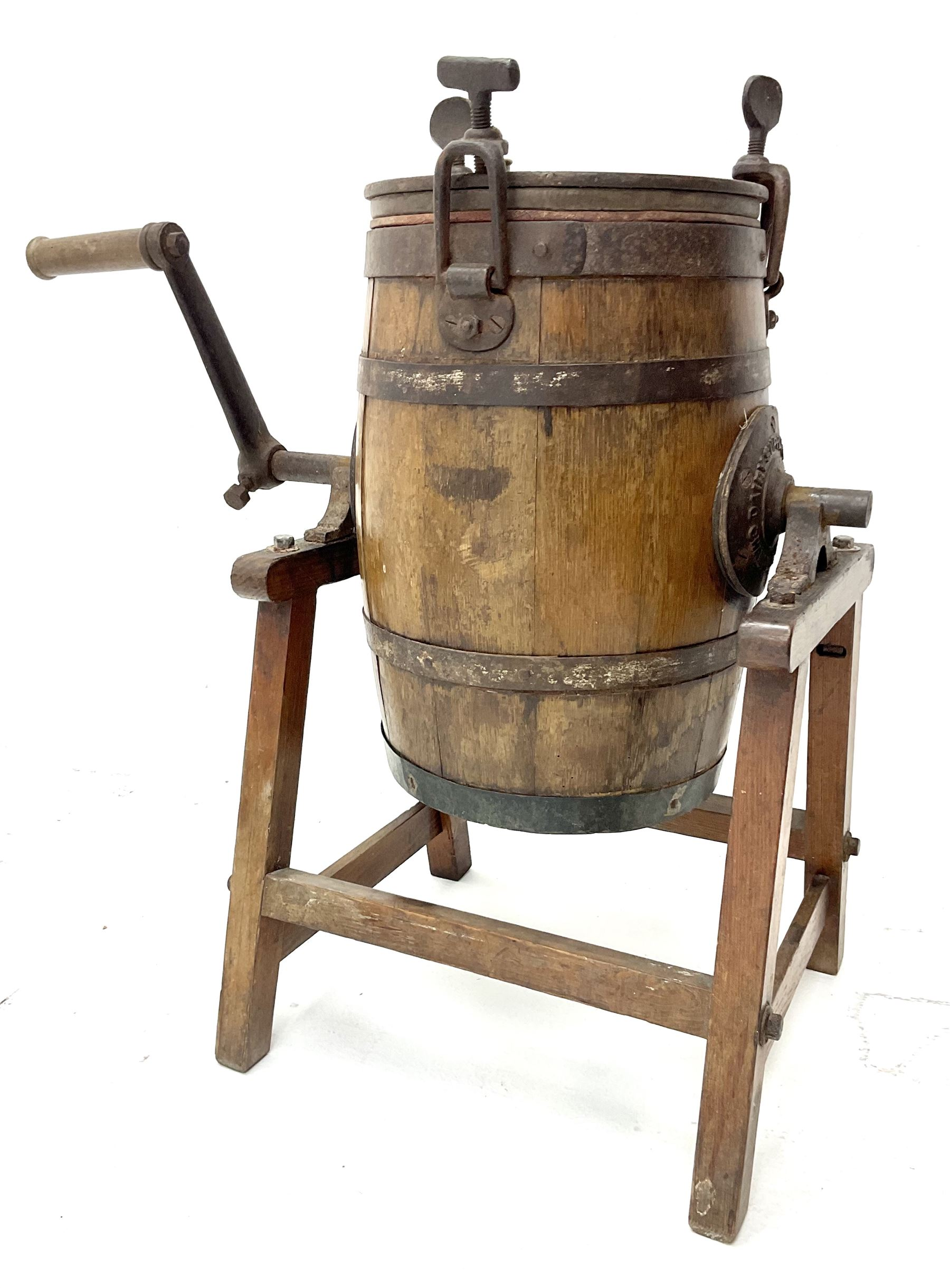 Victorian coopered oak table top butter churn on stand - Image 2 of 4