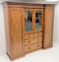 Victorian mahogany triple combination wardrobe
