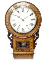 19th century inlaid walnut drop dial wall clock