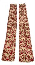 Pair lined gold ground curtains with red floral detailing with matching pole (L255cm