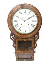 19th century inlaid rosewood drop dial wall clock