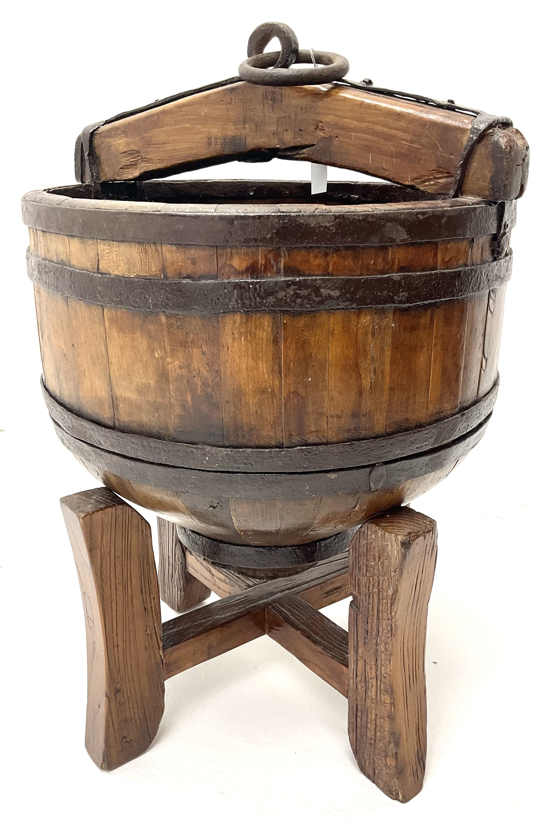 18th century continental hardwood coopered well bucket on stand