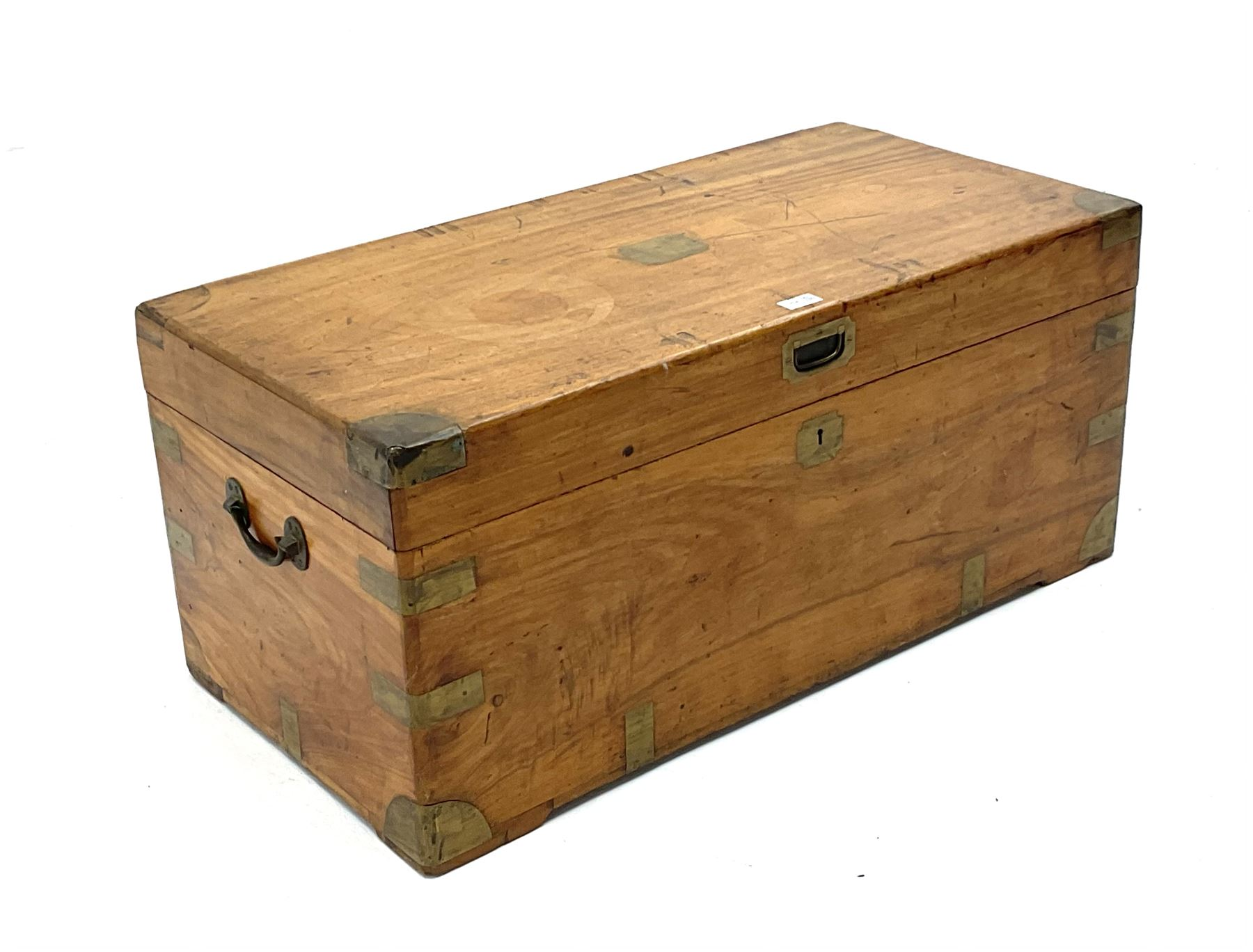 Early 20th century brass bound camphor wood campaign style chest - Image 3 of 3