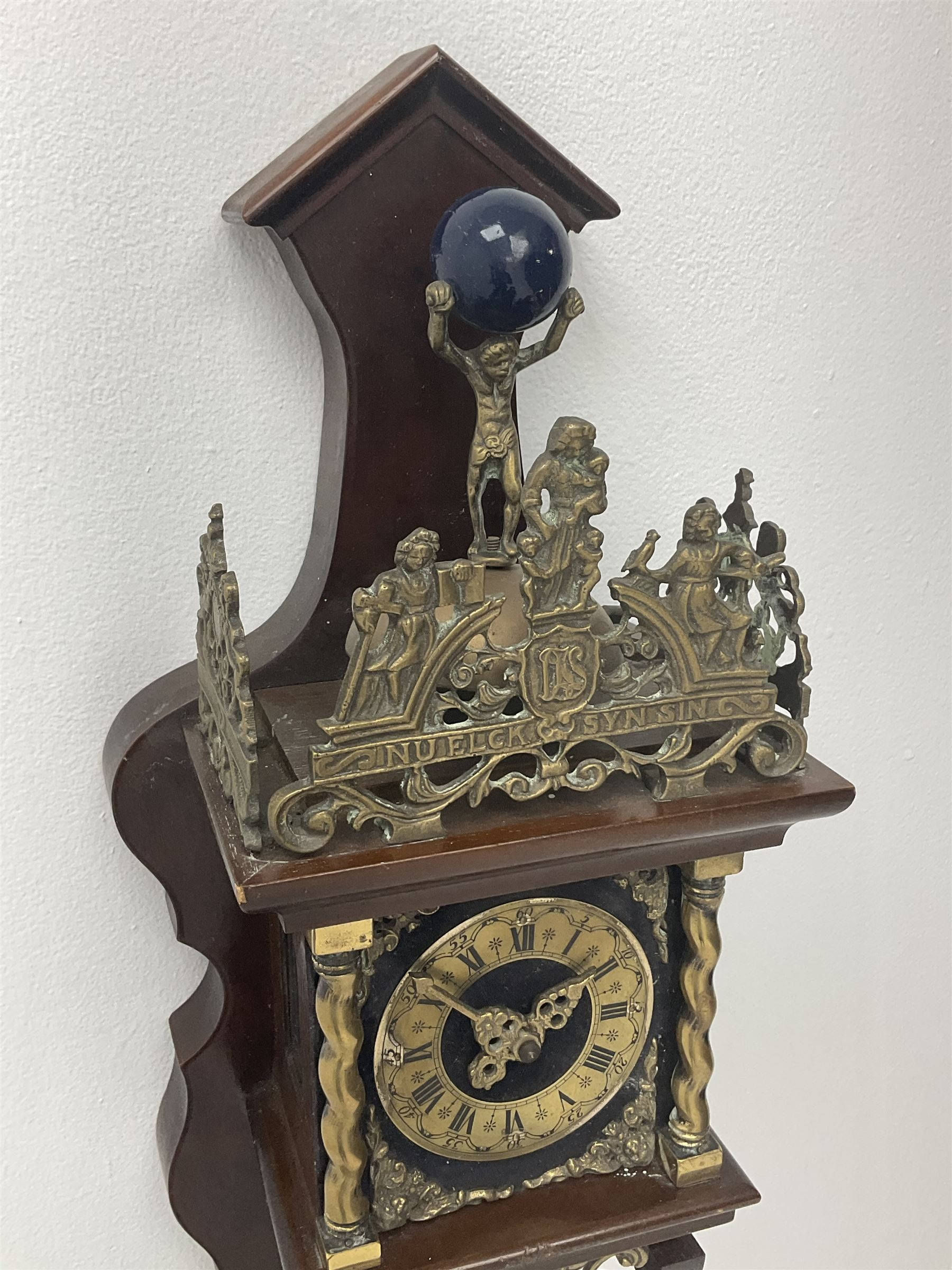 Late 20th century Dutch style figural wall clock in walnut case - Image 2 of 4