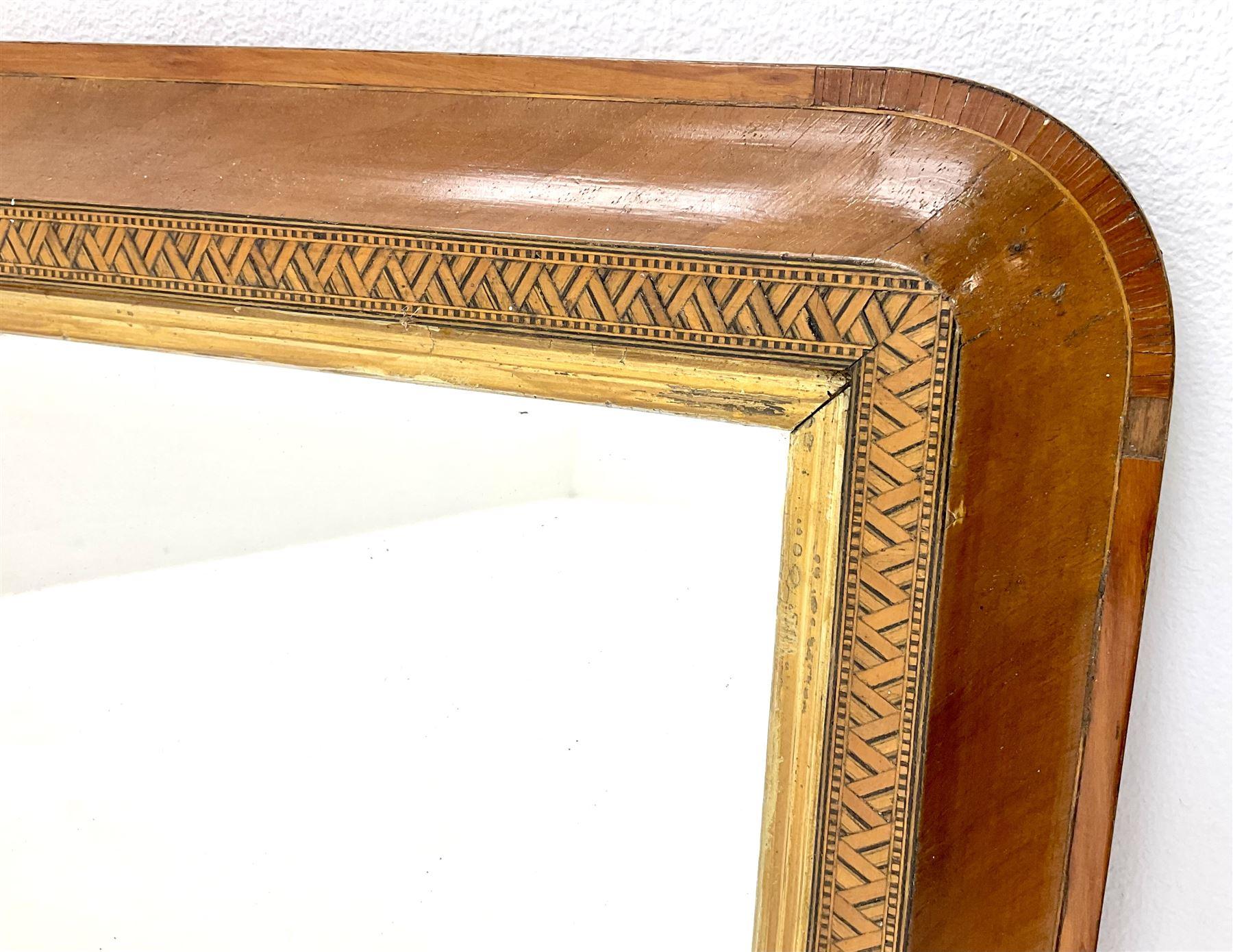 Victorian inlaid walnut framed Tunbridge Ware overmantle mirror - Image 2 of 2