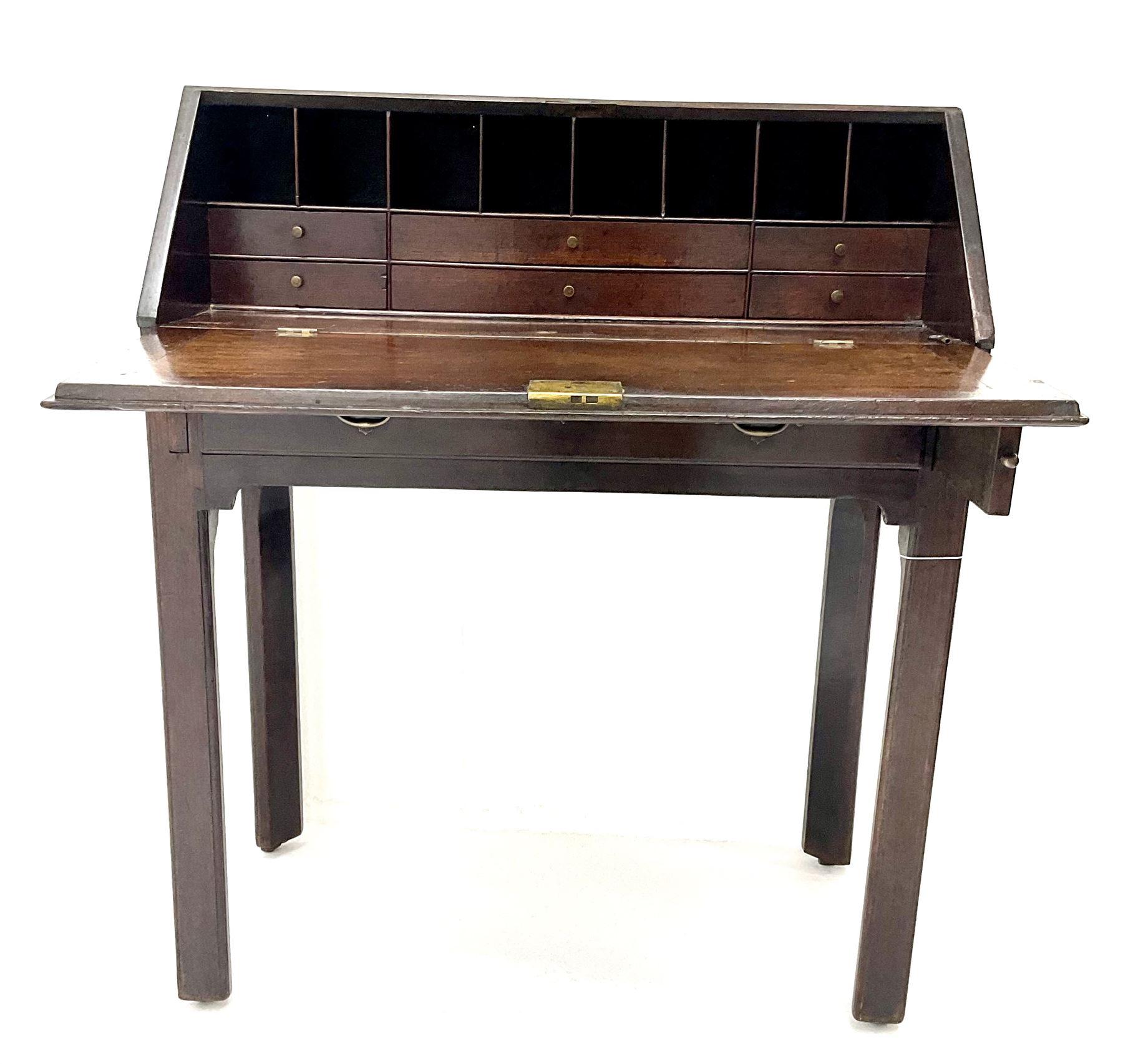 George III mahogany bureau - Image 3 of 5