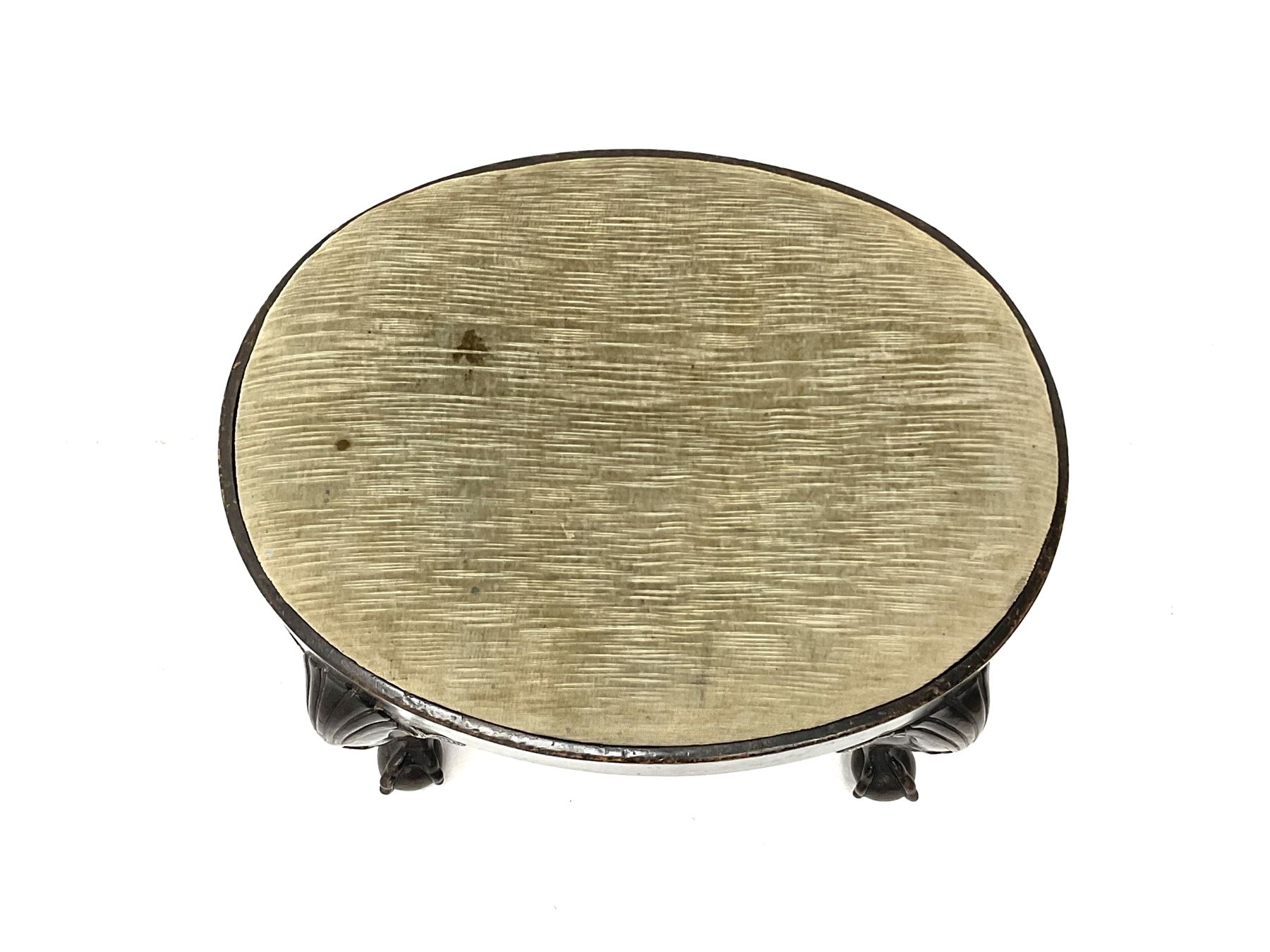 Georgian style walnut stool of oval form with plain frieze and upholstered drop-in seat on four cabr - Image 4 of 4