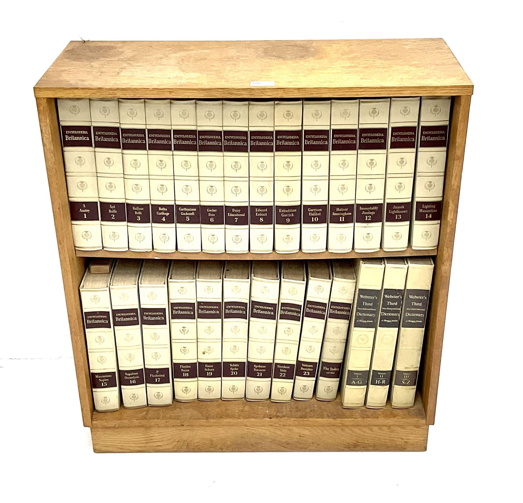 Light oak bookcase with Encylopedia Britania - Image 2 of 3