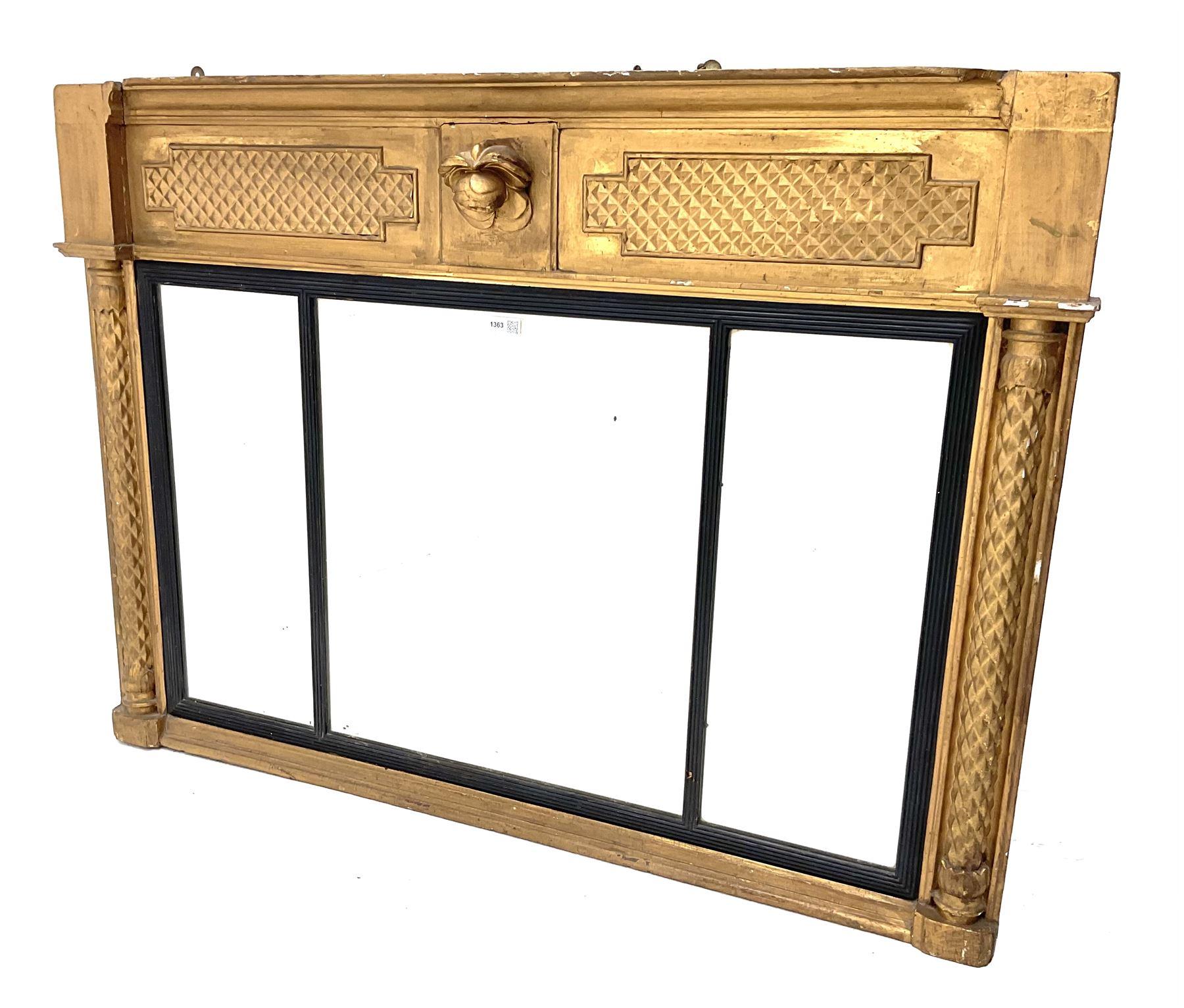 19th century gilt framed over mantle mirror