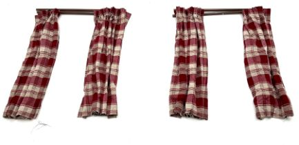 Two pairs of red and beige checkered line curtains along with curtain pole (W130cm