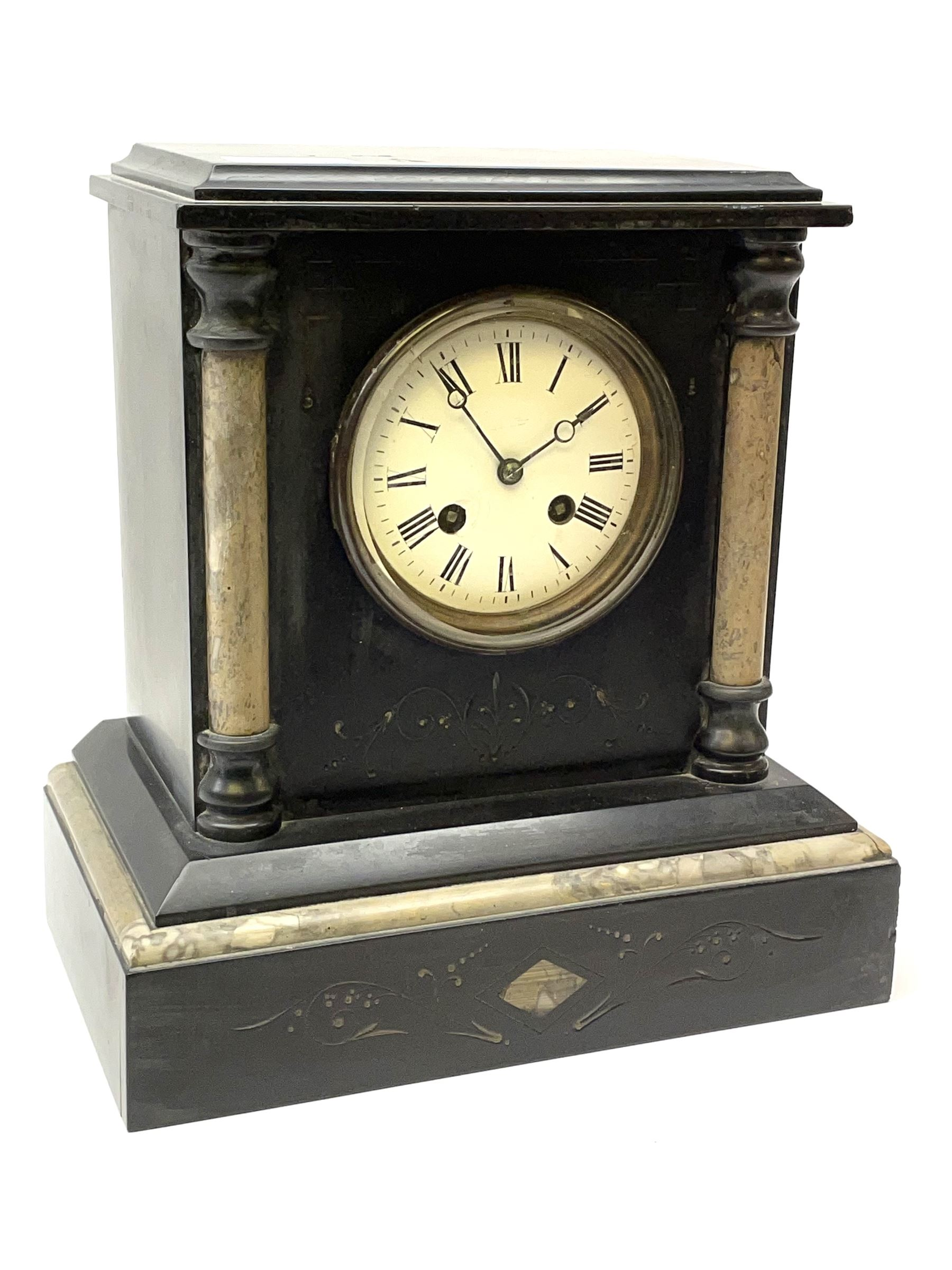 Victorian black slate and marble mantel clock - Image 2 of 5