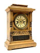 Late 19th century beech cased mantel clock