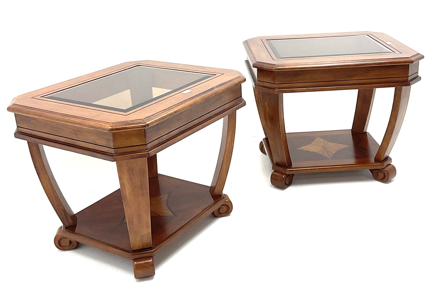 Pair walnut rectangular two tier lamp tables with inset glass tops - Image 3 of 4