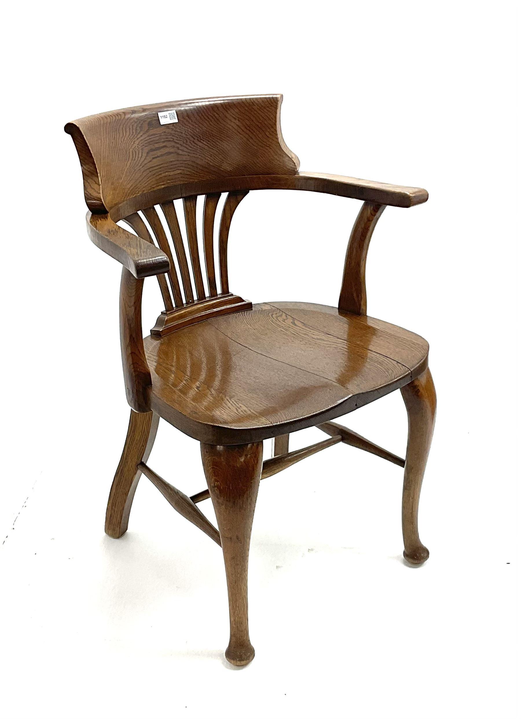 19th century oak desk chair - Image 2 of 2