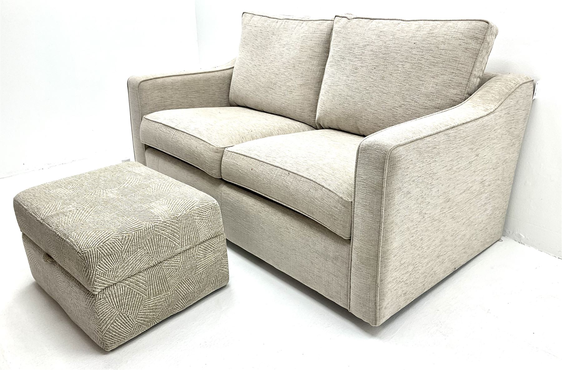 Two seat metal action sofa bed upholstered in a neutral fabric (W157cm) with storage stool (2) - Image 3 of 3