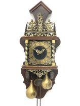 Late 20th century Dutch style figural wall clock in walnut case