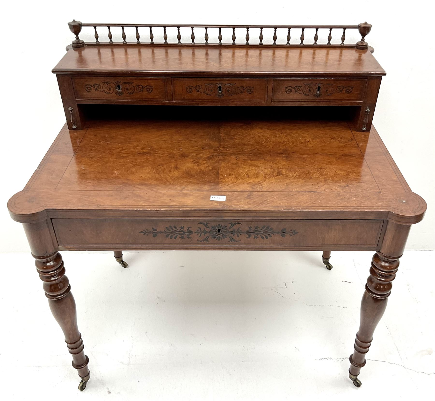 19th century inlaid grained oak writing desk - Image 3 of 4