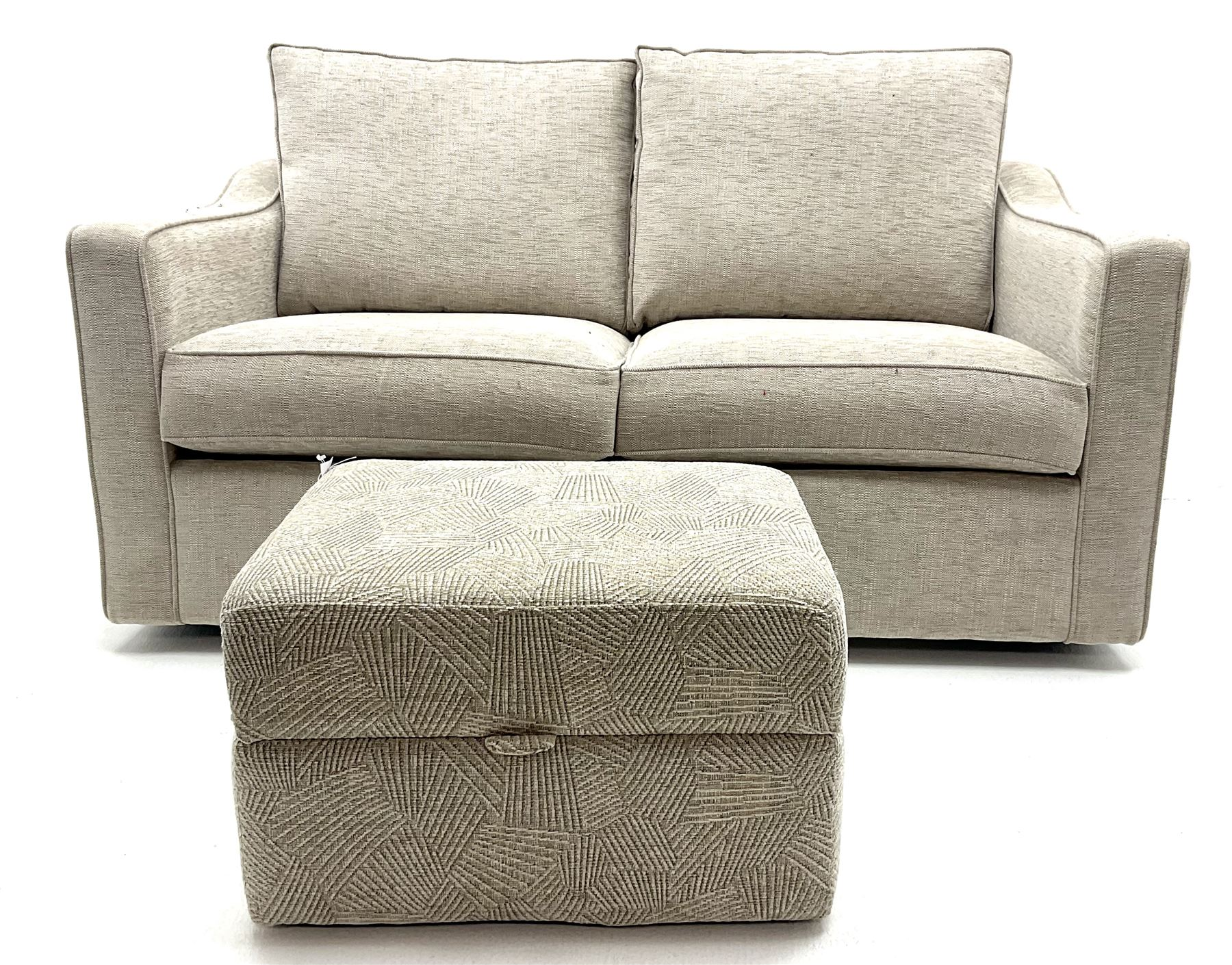 Two seat metal action sofa bed upholstered in a neutral fabric (W157cm) with storage stool (2)