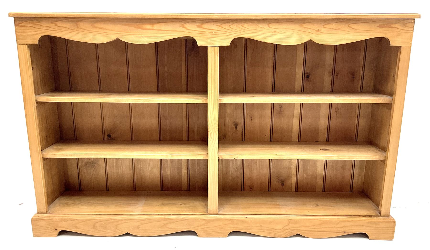 Solid pine low open bookcase