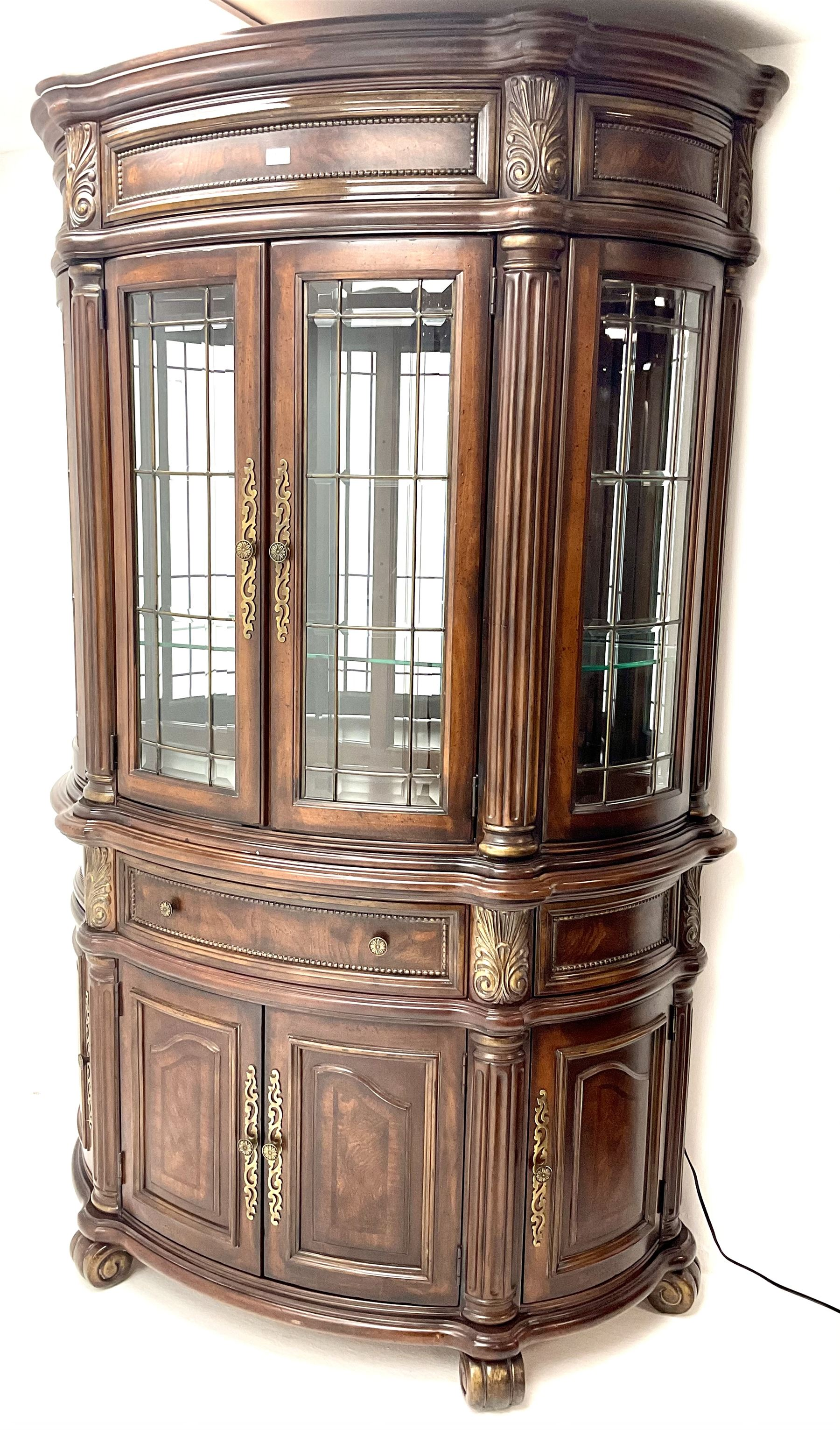Kevin Charles American walnut demi lune display cabinet with illuminated interior - Image 2 of 13