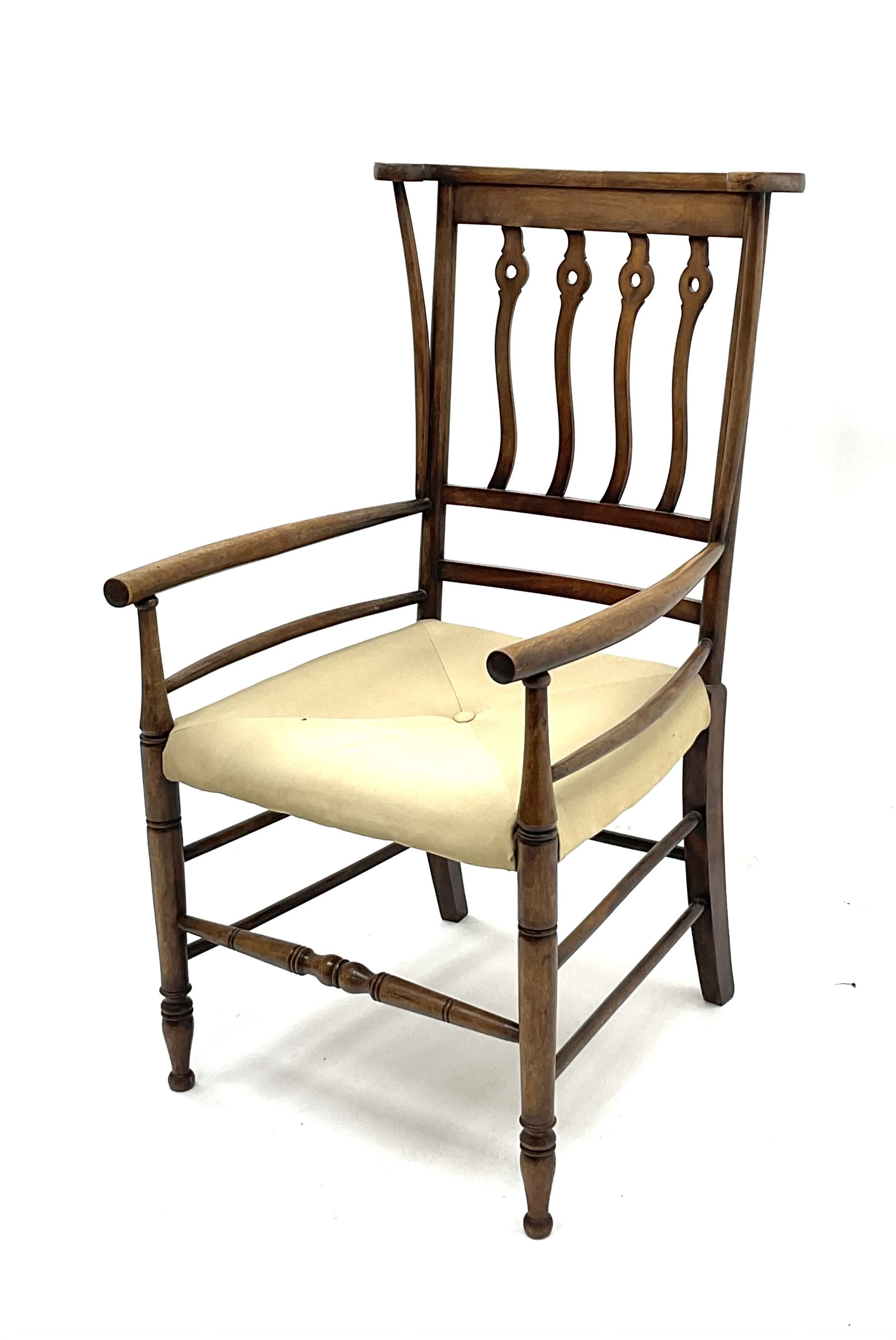Early 20th century Arts and Crafts style fruitwood elbow chair - Image 3 of 3