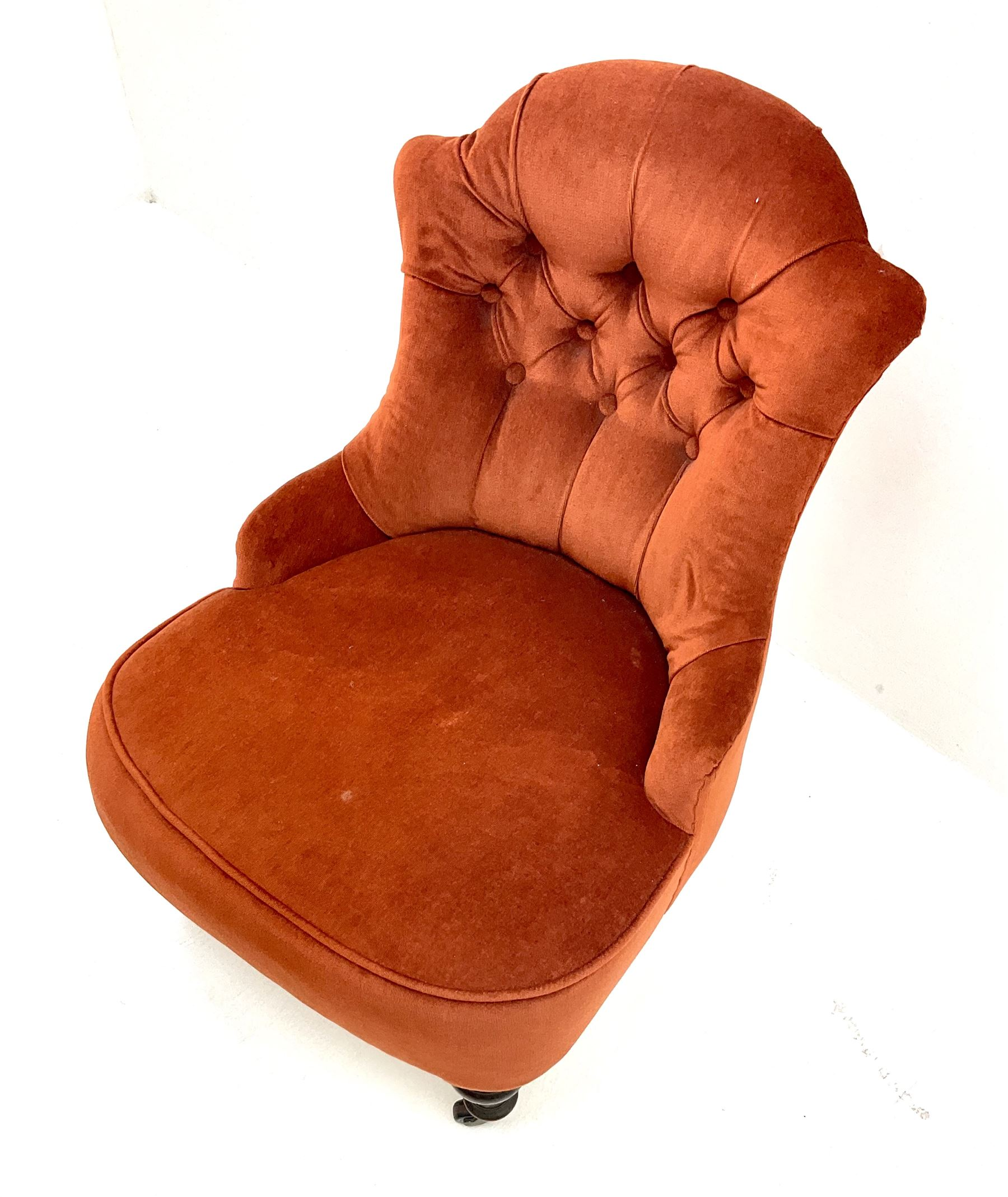 Victorian nursing chair upholstered in a buttoned terracotta fabric - Image 2 of 3