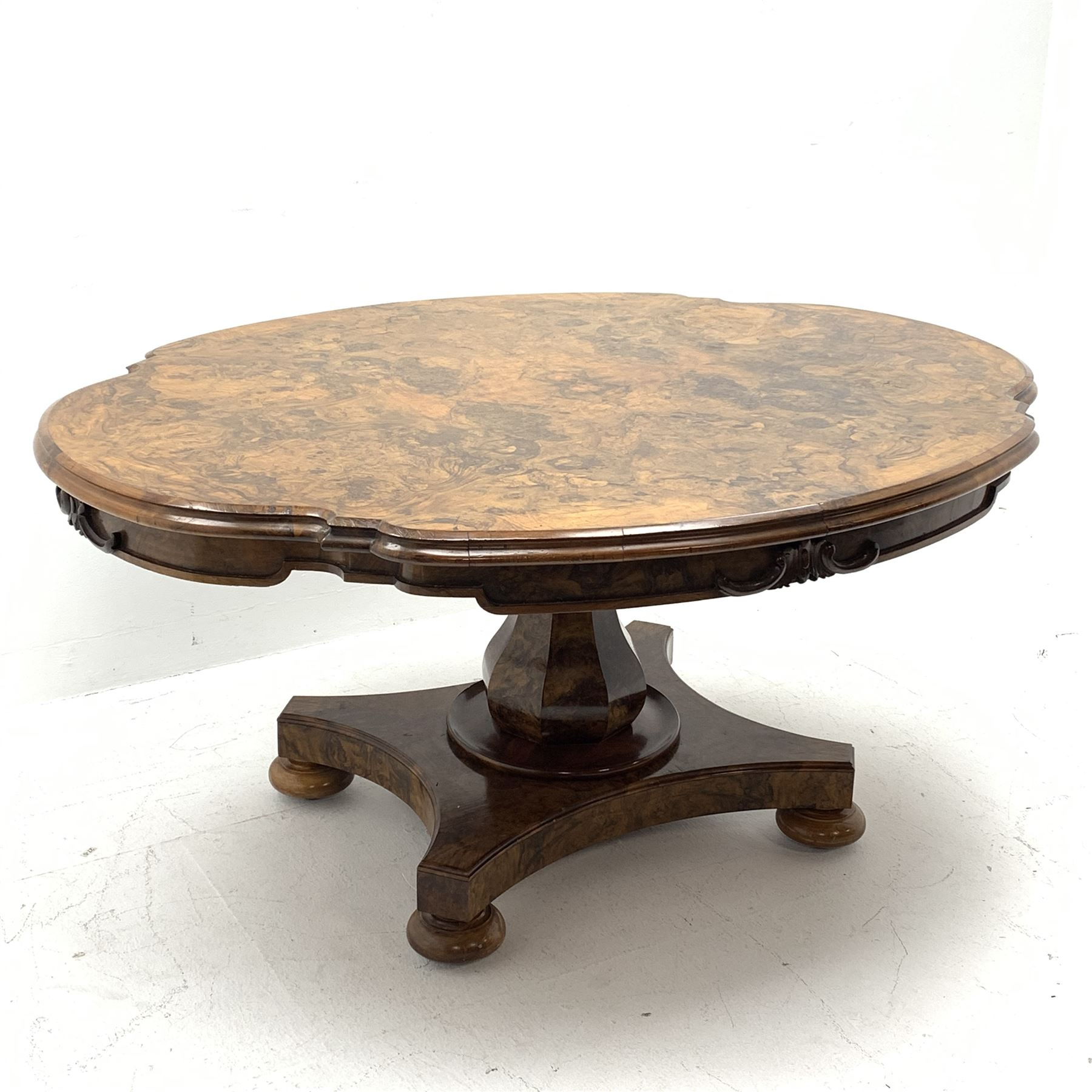 Victorian and later highly figured walnut breakfast table - Image 2 of 9