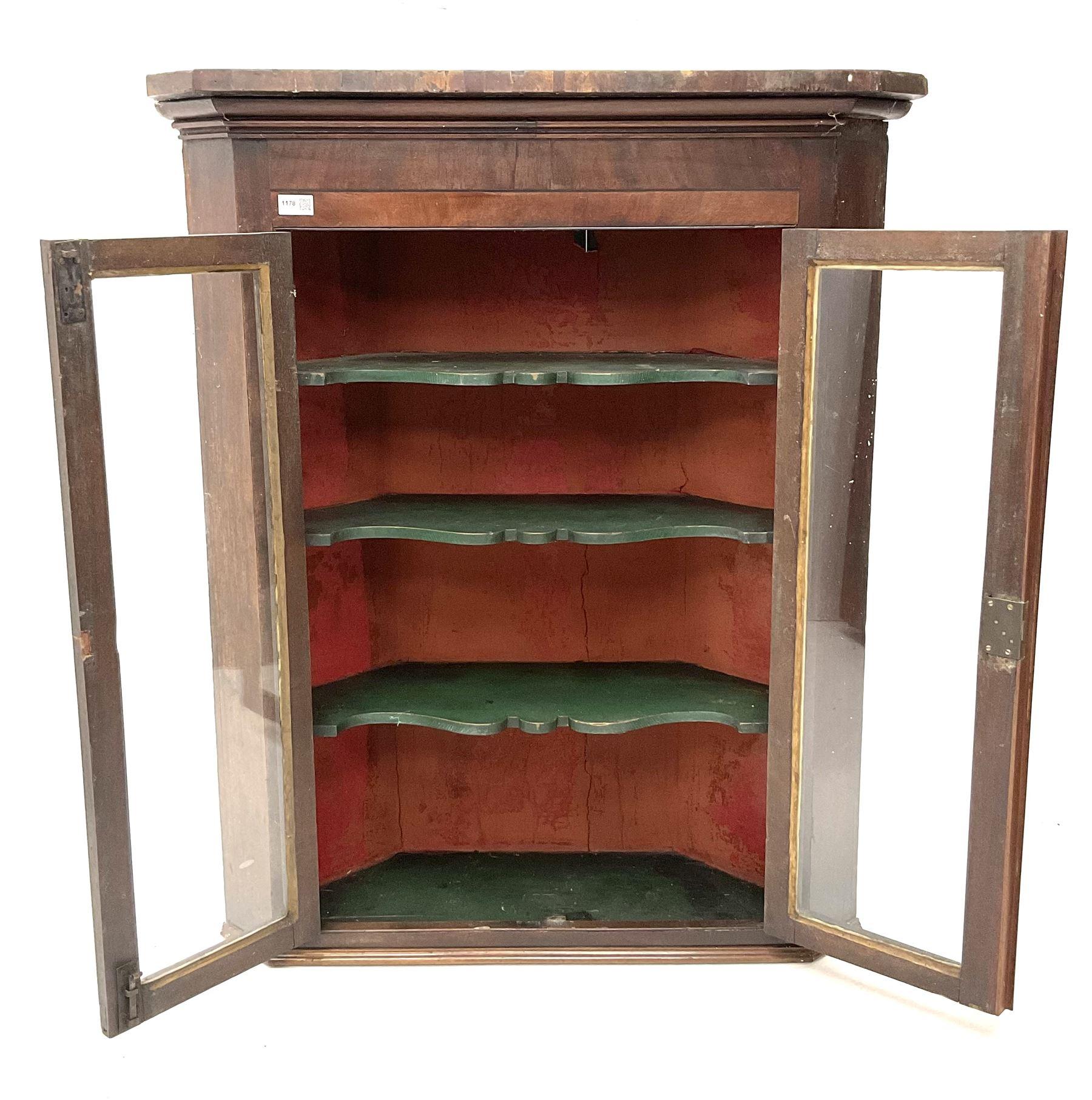 19th century mahogany hanging corner cabinet - Image 2 of 3