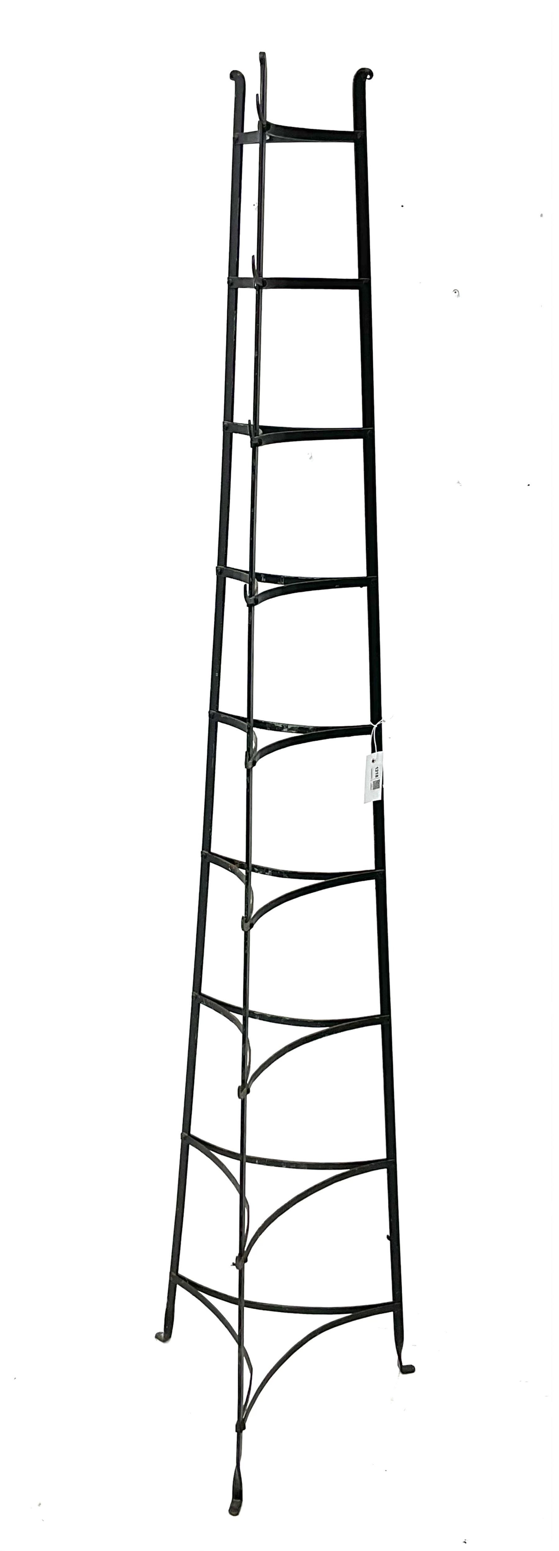 20th century black painted metal nine tier pan stand