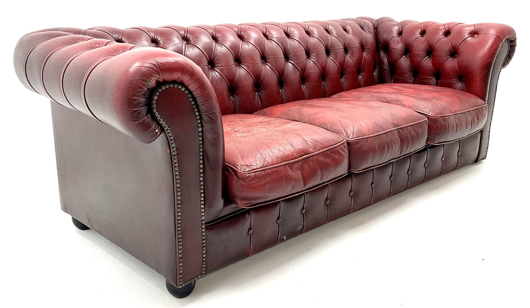 Three seat chesterfield sofa upholstered in deep buttoned ox blood studded leather - Image 3 of 4
