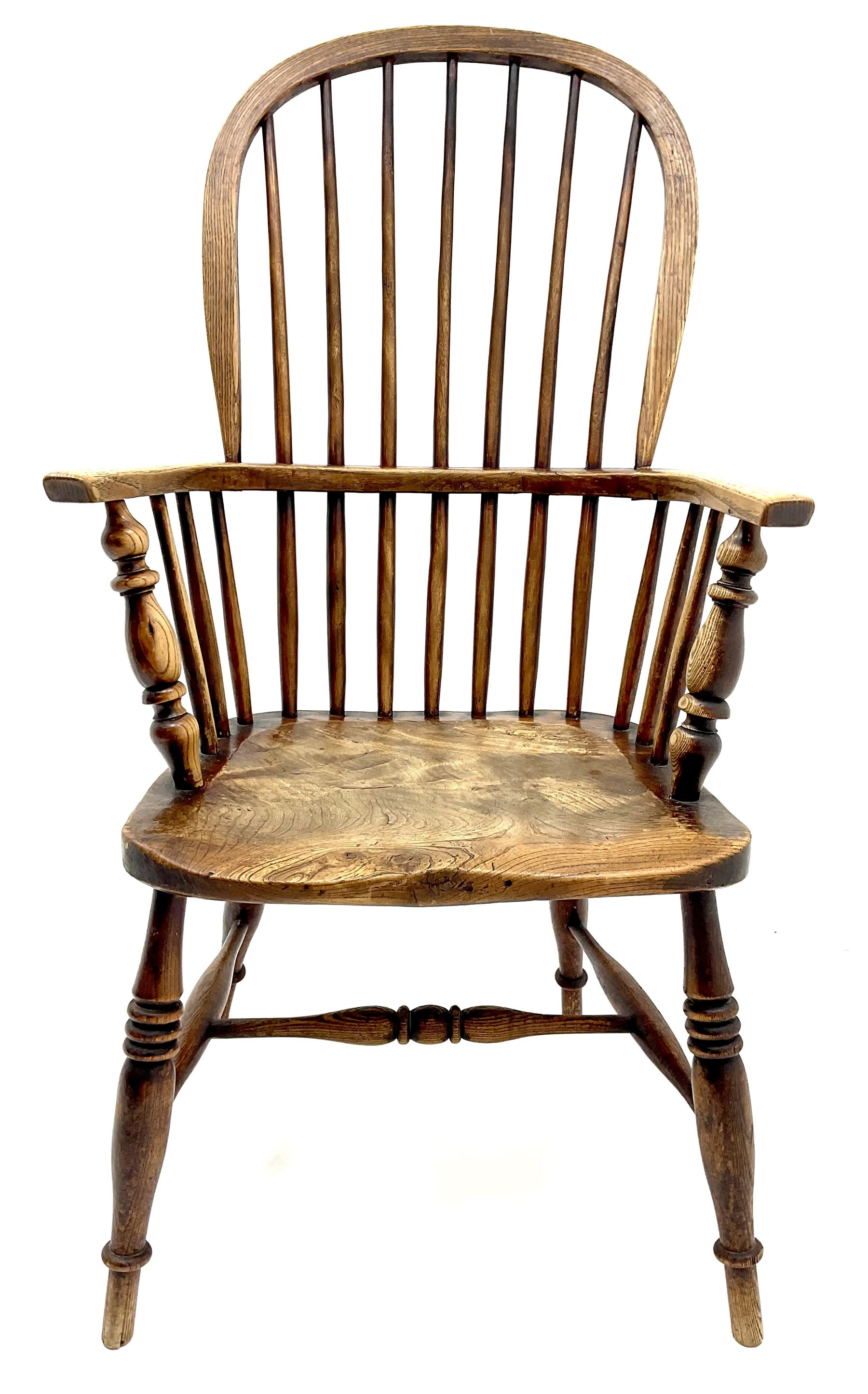 19th century ash and elm high back Windsor chair